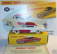 REEDITION DINKY TOYS ATLAS STUDEBAKER COMMANDER CREME ROUGE BICOLORE REF 540 BOX
