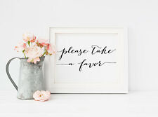 Please Take a Favor Print, Table Signage, Reception sign, Wedding Decor B&W