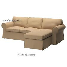 EKTORP Cover for IKEA Ektorp Loveseat with Chaise Idemo Beige w/ Lighter Piping