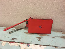 NWT COACH Pac-Man Red Cherry Leather Corner Zip Wristlet *Limited Edition 54841