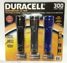 3 PACK LED TACTICAL FLASHLIGHT DURACELL DURABEAM ULTRA HIGH INTENSITY 300 LUMEN
