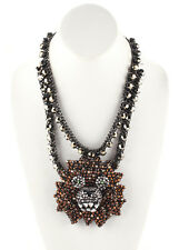 NEW SHOUROUK Silver Tone Crystal Tiger Big Cat On Campus Statement Necklace