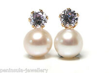 9ct Gold Cultured Pearl Stud earrings Made in UK Gift Boxed