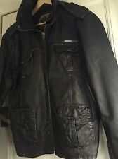 Superdry Brad Mens Leather Jacket size Xxl Brown Winter Beckham