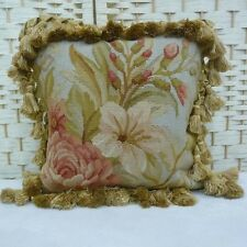 """12"""" Square Handmade French Gobelin Tapestry Weave Wool Aubusson Pillow Cover"""