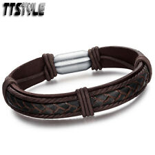 TTstyle Deep Brown Genuine Leather S.Steel Buckle Bracelet WristBand NEW