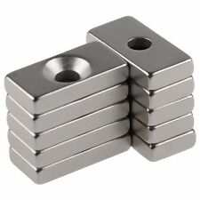 10PCS N50 Super Strong Block Magnet 20x10x3mm Hole 4mm Earth Neodymium Wholesale