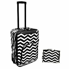 "All-Seasons 2-Piece Chevron Print 20"" Rolling Carry-On Luggage Set - Black"
