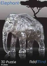 ELEPHANT 3D PUZZLE 41 PIECE JIGSAW - CRYSTAL MIND GAME CHALLENGE TEASER NELLY