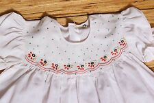 EXCELLENT Vintage Girls White Embroidered Baby Doll Style Dress  Size 18-24 mos