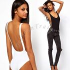 Womens Ladies Backless Cut Out Swimsuit Bodysuit Party Leotard Dipped Back Tops