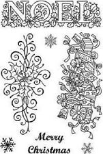 Art stamps A6 clear stamps noel sue dix pics 038 holly joyeux noël presents