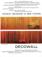 PUBLICITE ADVERTISING  1964  DECOWALL   panneau décoratif en bois naturel