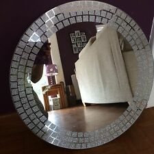 Round Mosaic Silver Glitter circle mirror Glass Room lounge bedroom wall 50cm
