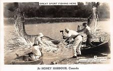 CANADA Ontario Postcard Real Photo RPPC c40s HONEY HARBOUR Exaggeration Fish 99