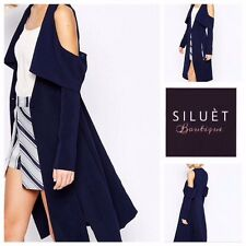 NEW Celeb Navy Blue Cut Out Long Formal Mac Coat Jacket Blazer 12
