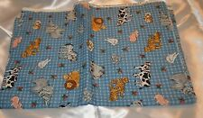 Lions, Tigers & Chickens Oh My! Assorted animals on Blue & White Plaid Backgroun