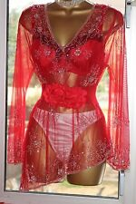 """Sexy and Glamorous Red Ultra Sheer Sequin Long Sleeves Top/Blouse Bust 42"""" CD/TV"""
