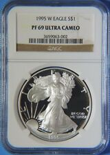 1995 W Proof American Silver Eagle 1oz NGC Graded PF69 Ultra Cameo
