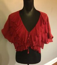 Anthropologie Moth Tie Front Ruffle Cape Shrug Cardigan Wool Blend Sweater S/M