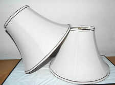 "LAMPSHADES PAIR HOTEL STYLE  11""H x 16""w x 7 1/2"" TOPw OFF WHITE w/BROWN TRIM"