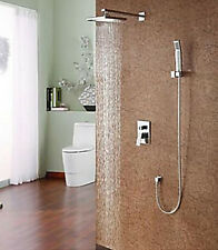 """Wall Mounted 8"""" Square Rain Shower Faucet Chorme Valve Mixer Tap W/ Hand Faucet"""