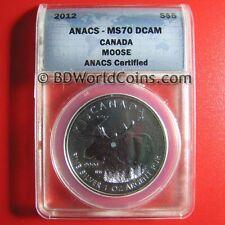 2012 CANADA $5 1oz SILVER MOOSE ELK ANACS MS-70 DCAM PERFECT GRADE WILDLIFE DEER