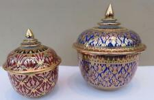FABULOUS QUALITY PAIR THAILAND BENJARONG HAND PAINTED GILDED BOWL & COVER