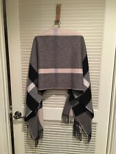Chic Burberry 100% Cashmere Ivory Black Grey Plaid Check Shawl Scarf GIANT OS