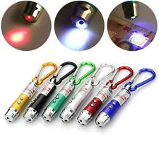 3 in1 Multifunction Mini Laser Light Pointer LED Torch Flashlight Keychain UV