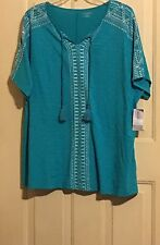 WOMENS CATHERINES TOP SHIRT PLUS 4X NWT GREEN 30 32 S/S WHITE ACCENT TASSELS