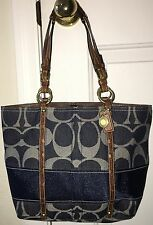 COACH Denim Signature Stripe Tote Purse Handbag Legacy Lining 11179