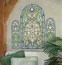 WALLIES STAINED GLASS WINDOW wall stickers MURAL 3 colorful decals art deco