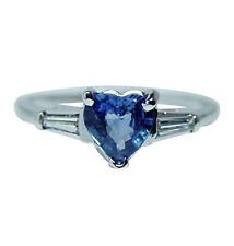 Vintage Heart Sapphire Diamond Baguette 3 Stone Ring 14K White Gold  Estate
