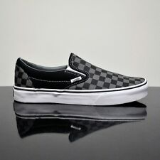 VANS CLASSIC SLIP ON CHECKERBOARD BLACK PEWTER CANVAS TRAINERS (UK 3 EUR 35)
