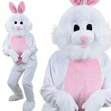 Mascot Easter White Bunny Rabbit Fancy Dress Mens Ladies Adult Costume Outfit