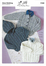 VAT Free Hand Knitting PATTERN ONLY Aran Teddy Child Sweater Jackets 7192 New