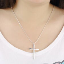 Fashion NEW 925 Sterling Silver Charms cross Pendant Beautiful women Necklace BG
