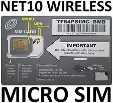 ORIGNAL AT&T MICRO SIM CARD VIA NET10 UNLIMITED SERVICE NOW $35 @ Mo.