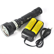 9000Lm 3x XM-L2 LED Underwater 200M Scuba Diving Flashlight Torch+26650+Charger