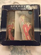 Sperry Top Sider Infantil Chicas Deck Zapatos Talla Uk 2.5 Pastel Cuadros Rosa