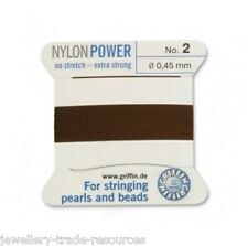 BROWN NYLON POWER SILKY STRING THREAD 0.45mm STRINGING PEARLS & BEADS GRIFFIN 2