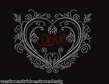 Heart Scroll Rhinestone Iron on Transfer    011815
