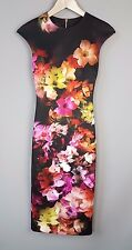 Ted Baker Catina dress wiggle Cascading floral Midi Bodycon Size 0 UK 6