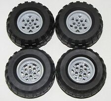 LEGO LOT OF 4 BLACK 81.6 X 38 R BALLOON TIRES WITH GREY 6 PINHOLE HUBS CAR TRUCK