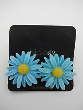 Daisy earrings plastic blue yellow center metal post flower