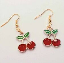 Red Cherry Earrings - Gold Plated - Festival - Ibiza Y2K Pacha