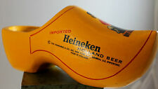 Vintage Heineken Beer Hand Carved Yellow Wooden Dutch Shoe Clog
