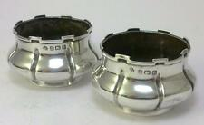 Pair of Vintage hallmarked Sterling Silver Salt Cellars/Dishes/Trinket Pots–1910