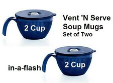 Tupperware New VENT N SERVE SOUP MUGS Pair~2 Cup Containters w/ Lids~Indigo BLUE